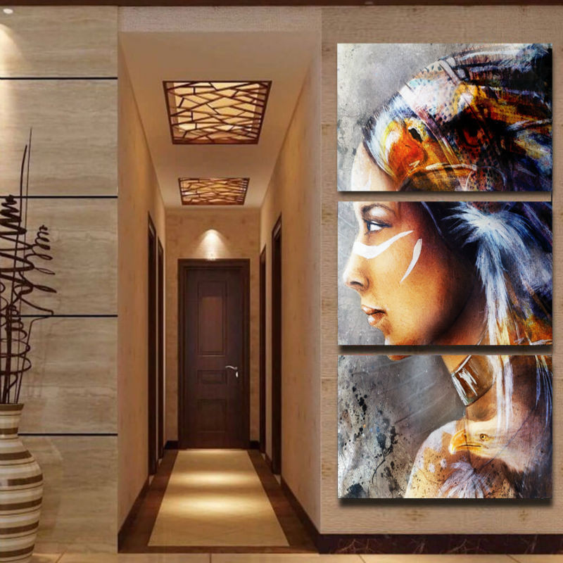 3 Panel Canvas Painting Native American Girl Feathered Women Home ...