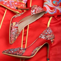 Chinese Women Wedding Shoes National Style High heeled Pumps Shallow Mouth Wedding Shoes Cheongsam Red Bridal Shoes