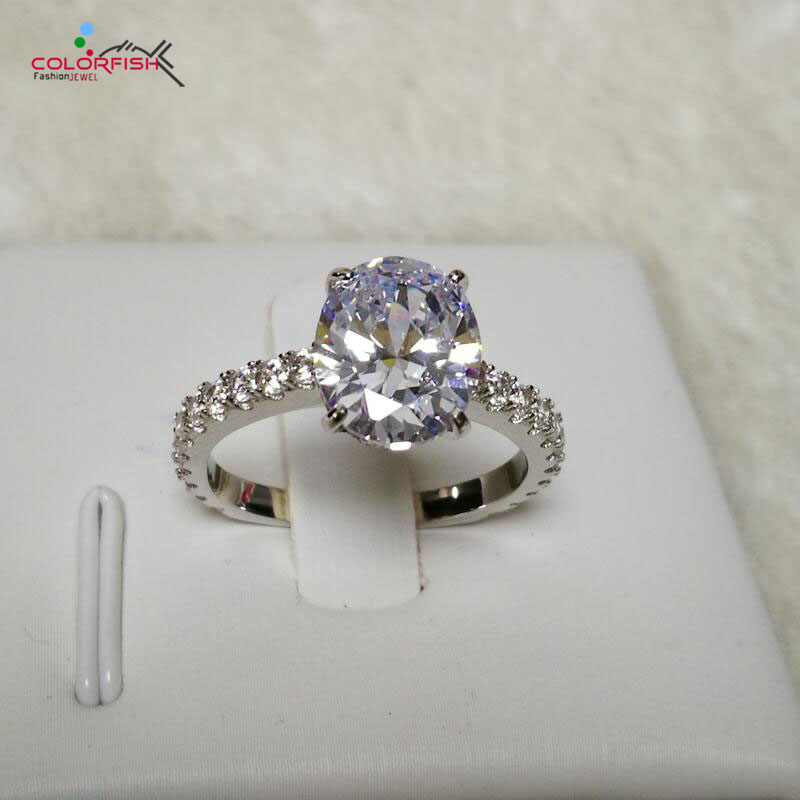 COLORFISH Luxury 3 Carat Oval Cut Solitaire Engagement Ring 925 Sterling Silver Jewelry For Women Big