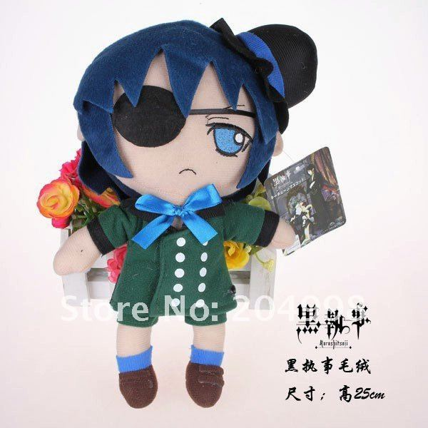 "Free shipping Black Butler Kuroshitsuji 10"" Plush Ciel Phantomhive Plush Soft  Stuffed Toy Blue Wholesale and Retail"