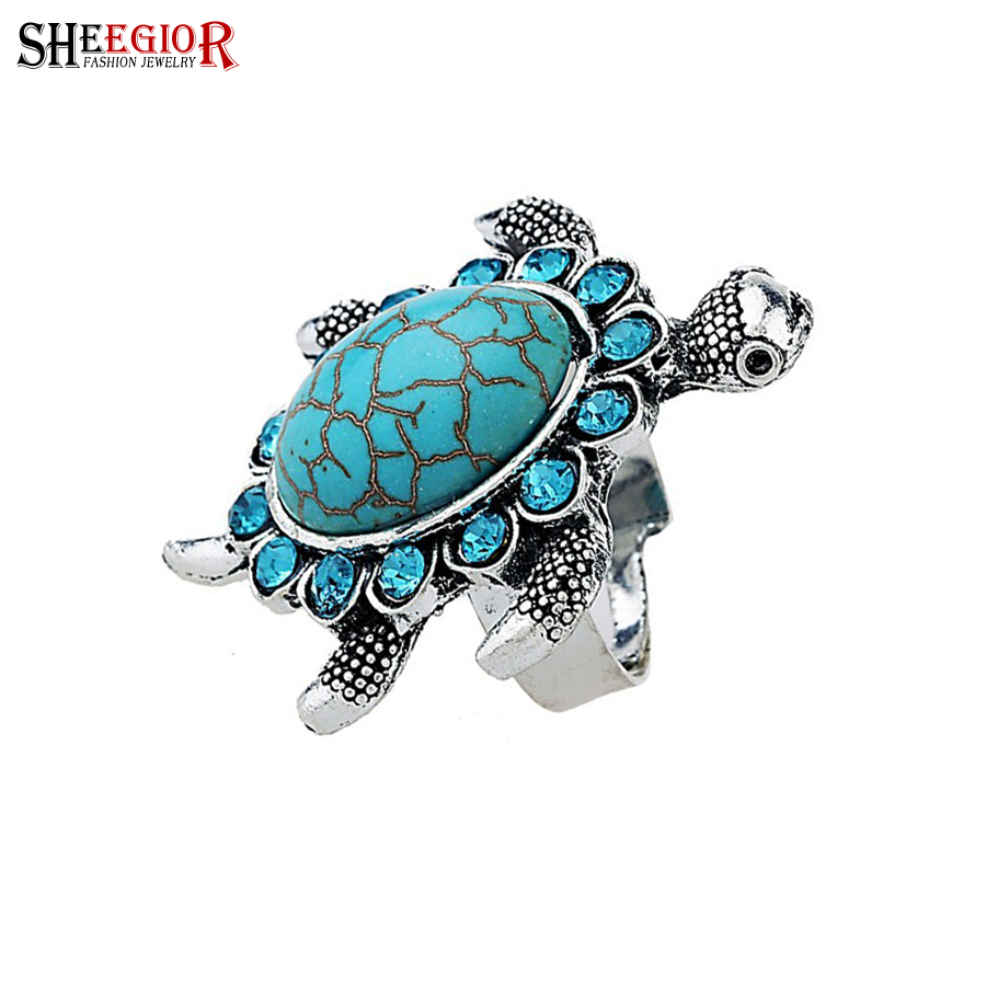 SHEEGIOR Blue Stone Tortoise Rings for Women Vintage Silver color Rhinestone Animal Rings Bohemia Ring Men Jewelry Gifts Bijoux
