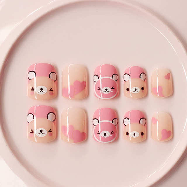 24Pcs Pink Bears Fake Nails Cute Kawaii Short False Nails Acrylic ...