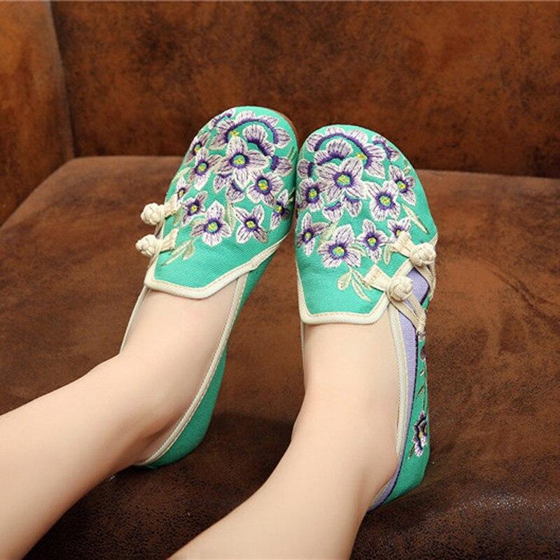 Tissu Fleur Sabots Dames De Black Pékin Occasionnels Filles Vieux Doux Pêche Femmes green blue Chaussures Appartements Brodé Super n4qP1v4wUx