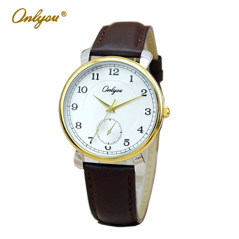 Onlyou Brand Fashion Casual Watch Women Men Quartz Watch Genuine Cow Leather Wrist Watch For Boys Girls Lovers Watch  81003 classic ulzzang brand vintage genuine leather women men lovers quartz wrist watch gift black white brown