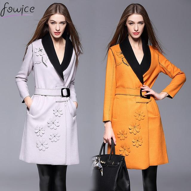 Поступила новая Мода женская Одежда Длинные Пальто Шанца Legant 2016 Осень Зима V_neck Бисером Пальто С Поясами