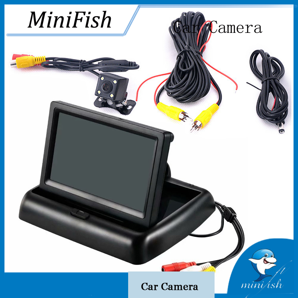 4.3 Inch LCD Car Monitor Reverse Display Foldable HD Screen Rear View Camera