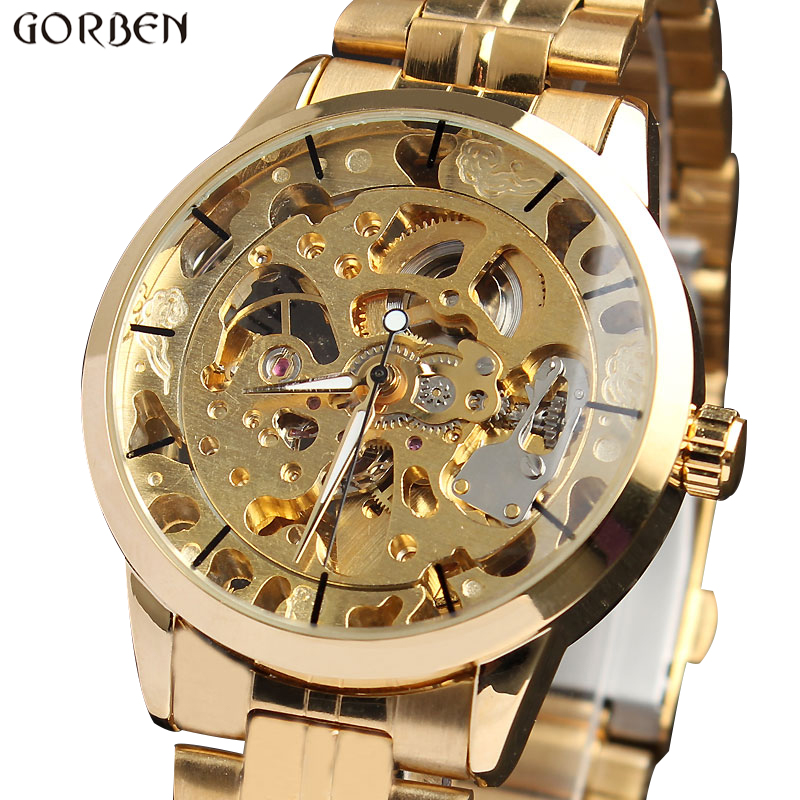 New Busines Golden Skeleton Dial Stainless Steel Band Case Hand Winding Automatic Mechanical Wrist Men's Watch Luxury M103 new busines golden skeleton dial stainless steel band case hand winding automatic mechanical wrist men s watch luxury m103