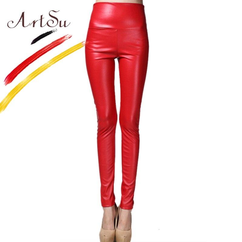 ArtSu 24 Color High Waist PU Leather Pants Skiny Pencil Pants 2017 Autumn Winter Women Fitness   Leggings   Plus Size ASPA20091