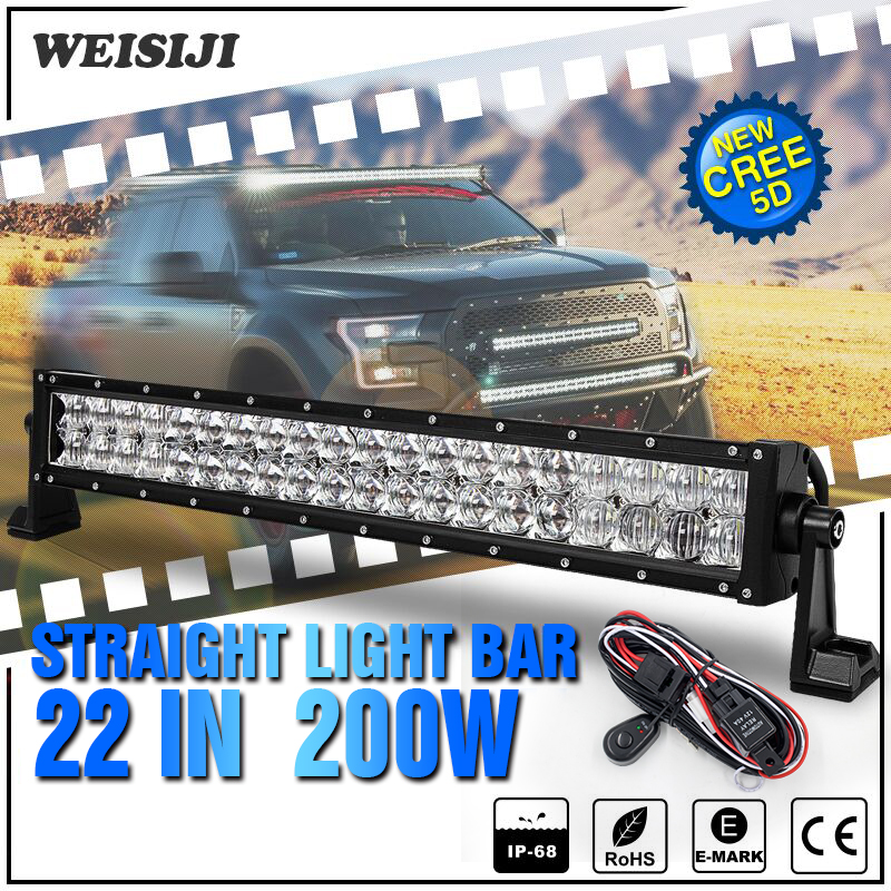 ФОТО WEISIJI 1Pcs 22inch 200W LED Light Bar with Cree Chips 5D Straight Working Light Bar for 4*4 Offroad Jeep Truck Train SUV ATV