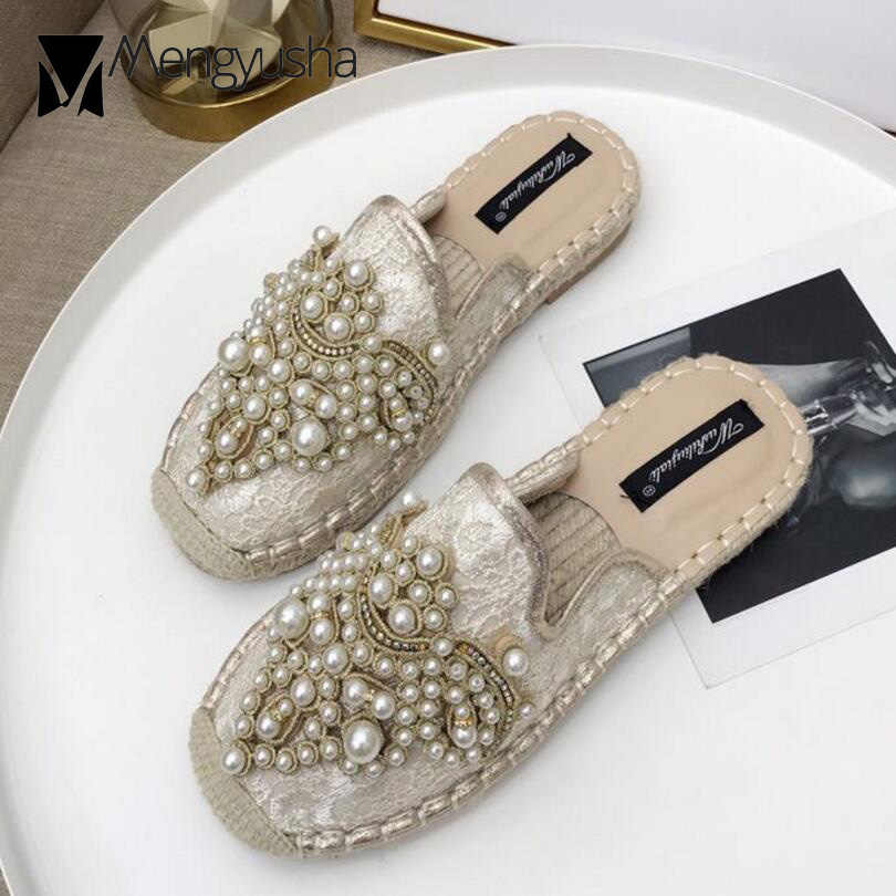 d59231eb0e9 sexy lace espadrilles sandals women pearl beading slippers cover toe straw  sandalias breathable summer shoes woman