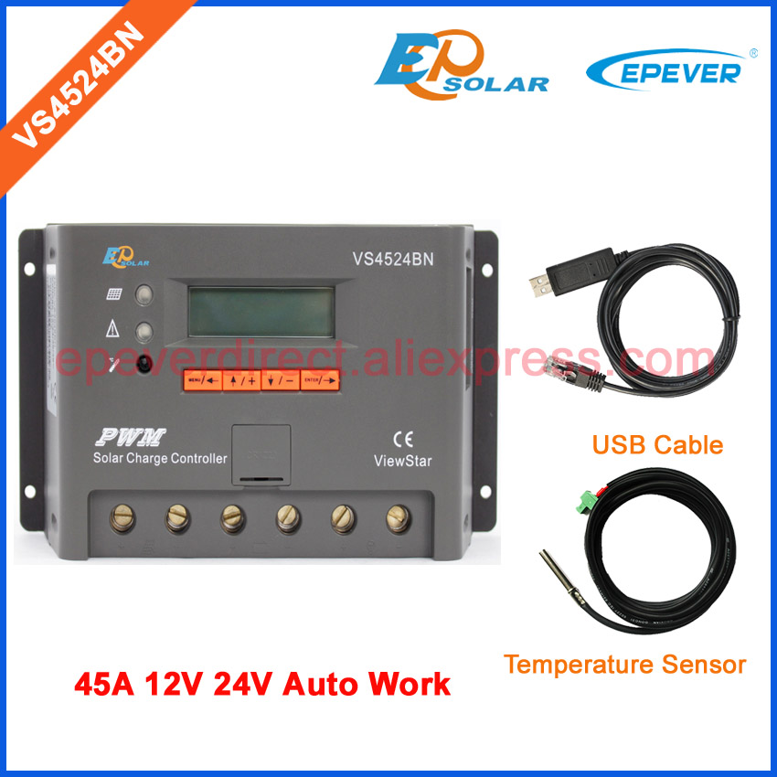 regulator PWM EPSolar ViewStar series VS4524BN solar portable controller USB cable and temperature sensor 45A 45amp vs4524bn 45a pwm controller network access computer control can connect with mt50 for communication