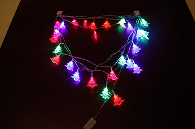2pcs Solar Power LED Christmas Tree Lamp Light multicolour String Strap For Garland Wedding Christmas Venue Decoration