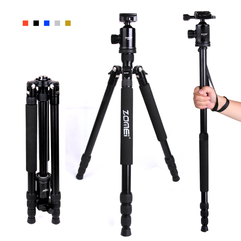 F16301 ZOMEI Z-888 Professional Portable Aluminum DSLR Camera Tripod Traveling Camcorder Monopod Ball Head with Carrying Bag 100