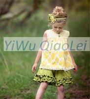 Wholesale Sweet Baby Girl Summer Short Sleeve Ruffle Pants Kids Yellow Pattern Top Dress Cotton Boutique