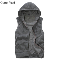 New 2015 Mens Sleeveless Hoodies Fashion Casual Sports Sweatshirt Free Shipping 5 Colors Size M XXL