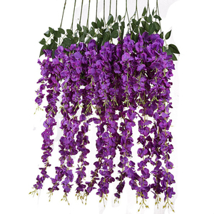 Image 5 - Luyue 12pcs Artificial Wisteria Flowers Vines 97cm Wedding Decor Flower Garland Silk Decorative Flowers Home Fake Flower Vine