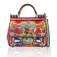 Ethnic style printing bag Sicily casual portable platinum package Leather shoulder bag