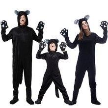 Umorden Halloween Purim Party Costumes Plus Size Loose Animal Black Cat Costume Cosplay Catsuit Jumpsuit for Women Men Kids Boy