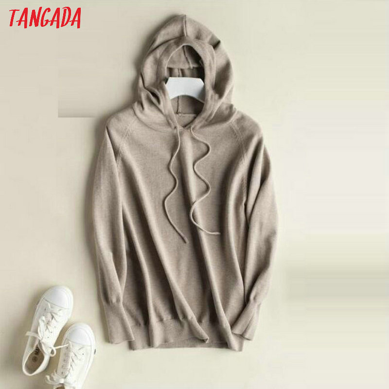 Tangada fashion woman solid hooded sweater female long sleeve korean chic soft jumpers sweater ladies pull femme AQJ01 25