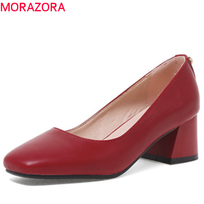 MORAZORA shallow spring summer shoes slip on high heels square toe square heels simple casual dress elegant women pumps sweet women high quality bowtie pointed toe flock flat shoes women casual summer ladies slip on casual zapatos mujer bt123