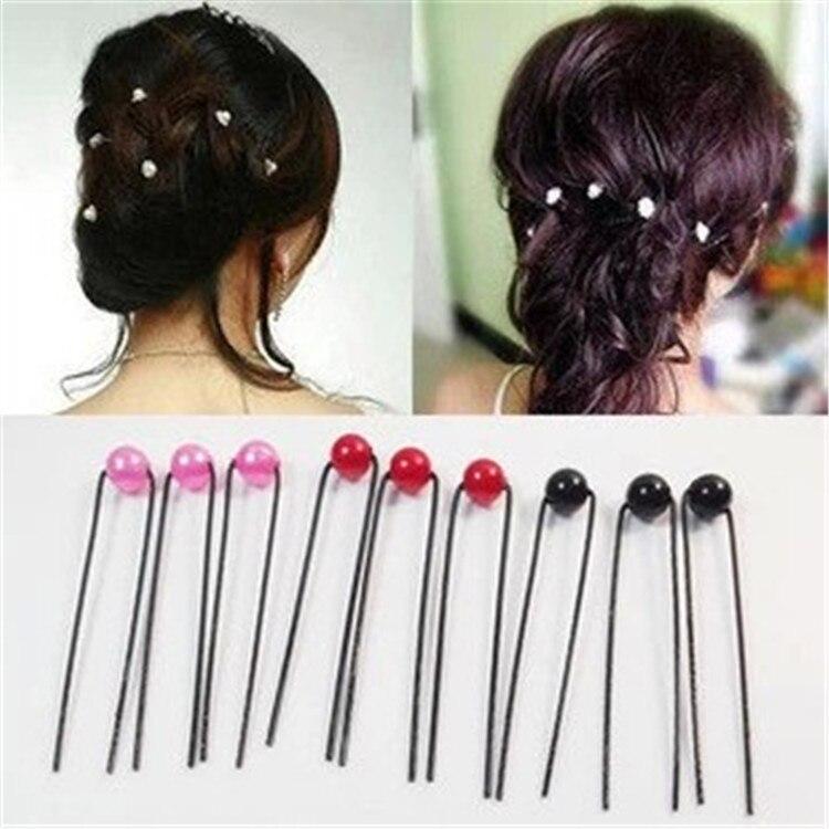 length:6cm bead D:1cm Plated Thin U Shape Hair Bobby Pin U-clip Bridal headdress Metal Clips Barrette 100 pieces,100Y4813