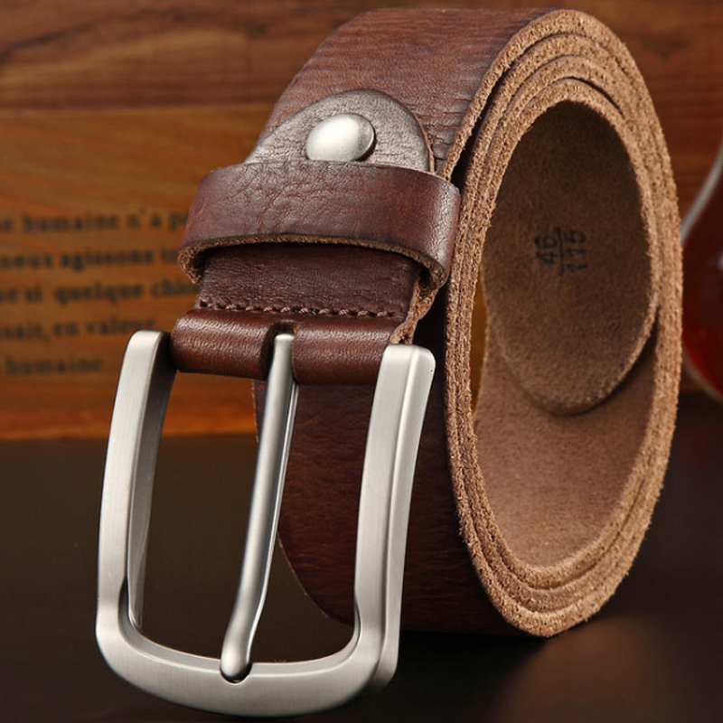 new Luxury belt men 39 s belts pronged buckle man 39 s genuine leather strap for jean high quality wide brown color crazy horse in Men 39 s Belts from Apparel Accessories