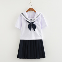 Japanese Sakura Embroidery School Uniforms Cute Girl Short Sleeve Summer Sailor Suit Student Clothing Outfits T Shirt+Skirt+Tie