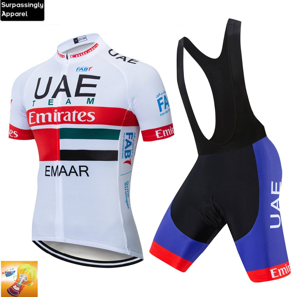 Pro Uci Team Uae Cycling Jersey Set 2019 Men Mtb Bicycle Clothes Sportswear Bike Clothing Maillot Ropa Ciclismo Cycling Set 16d Excellent (In) Quality