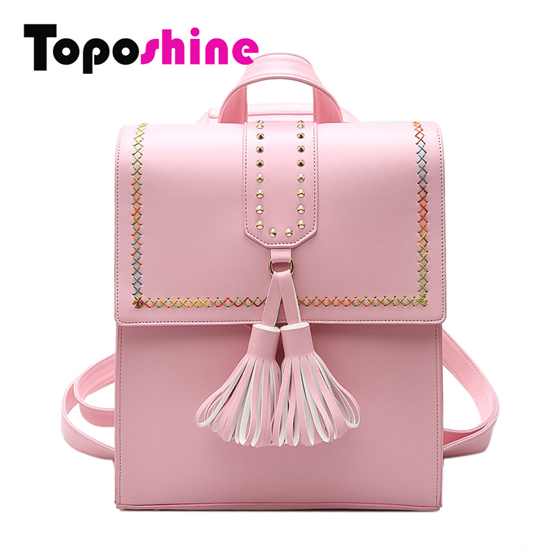 Toposhine 2017 Rivet School font b Backpack b font Black PU Leather Lady font b Backpack