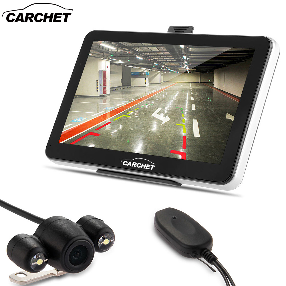 CARCHET Car 7 GPS Navigation Bluetooth FM 128MB 4GB AV-IN Wireless Reverse Camera America Map GPS Navigation Touch Screen aw715 7 0 inch resistive screen mt3351 128mb 4gb car gps navigation fm ebook multimedia bluetooth av europe map