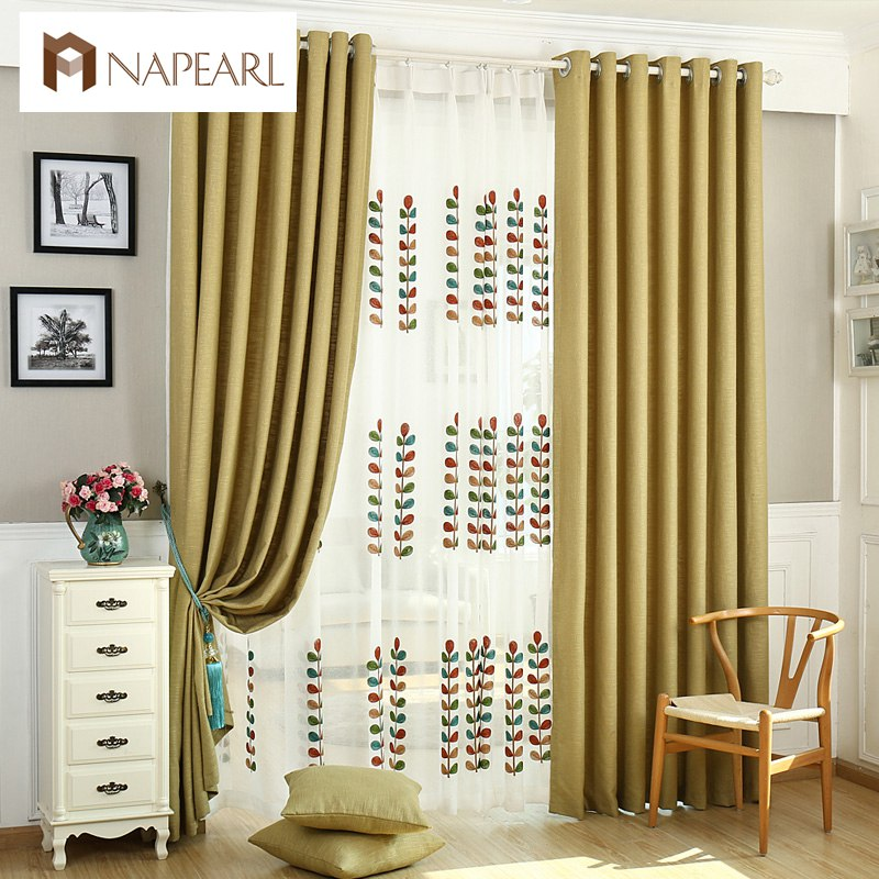 Linen Semi  Blackout Curtains Living Room Window Treatments With Tulle  Sheer Panel Soild Color Fabrics