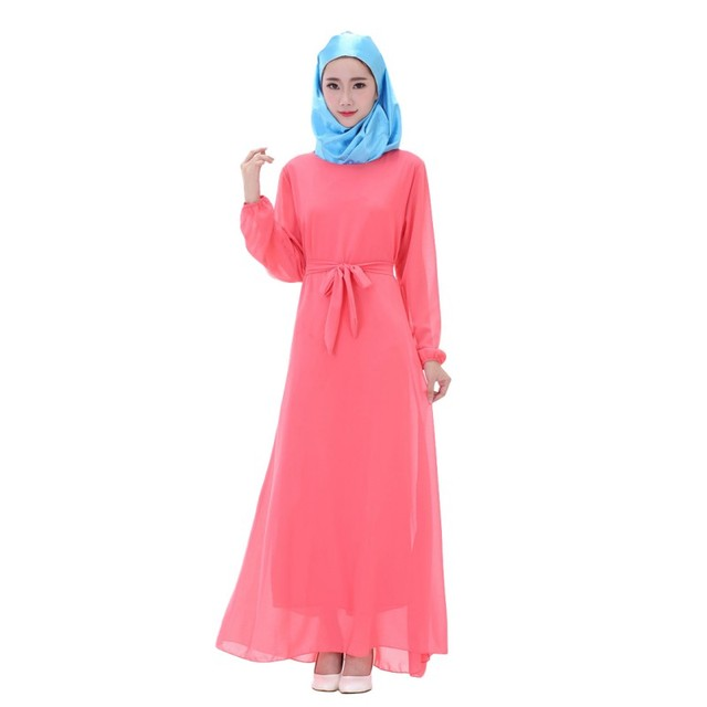 Moda Gasa de Las Mujeres de Manga Larga Kaftan Abaya Jilbab Islámico Musulmán de Cóctel Vestido de Las Mujeres