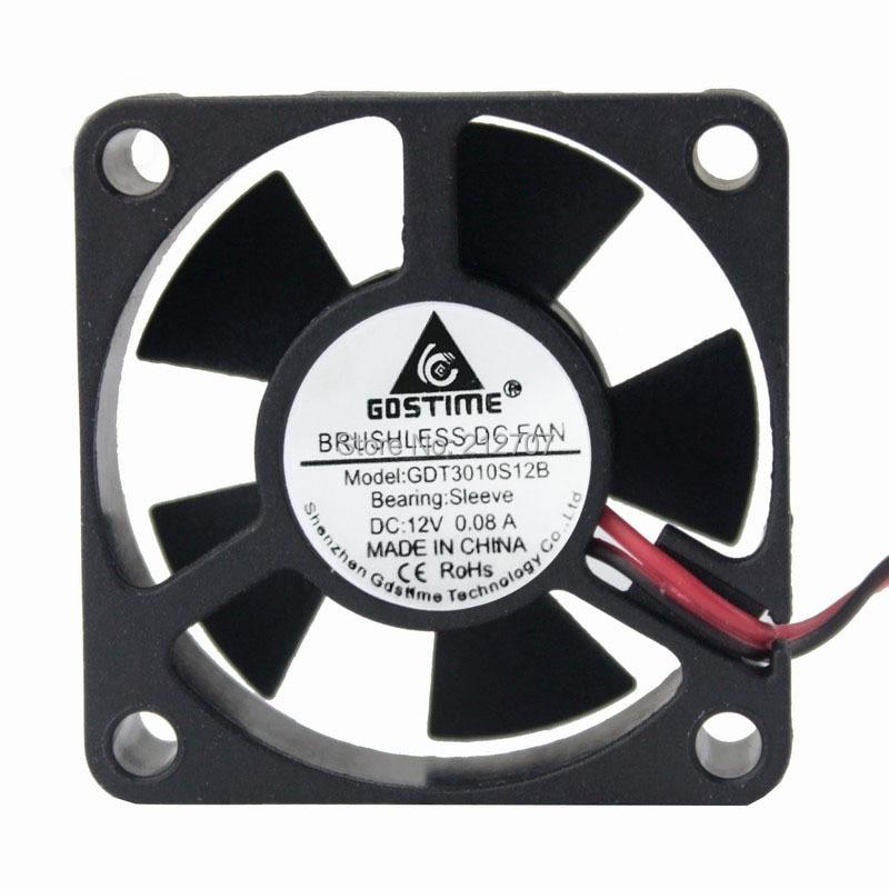 2PCs Gdstime 7 Blades 3010 30x30x10mm 3cm 30mm 12v Brushless Dc Cooling Fan