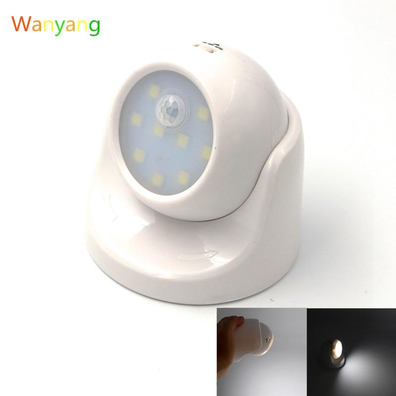 9 LED Motion Sensor Night Light 360 Degree Rotation Portable Night Light Auto IR Infrared Luminary