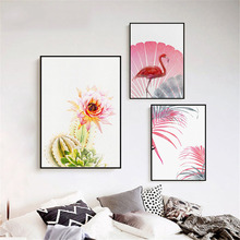 HAOCHU Nordic Pink Flamingo Cactus Plant Flower Feather Home Living Room Restaurant Mural Art Decorative Canvas Painting Poster