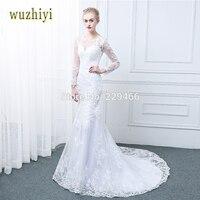 Wuzhiyi Cap Sleeve Sccop Lace Bridal Dresses Robe De Mariage Applique Long Mermaid Wedding Dress 2017