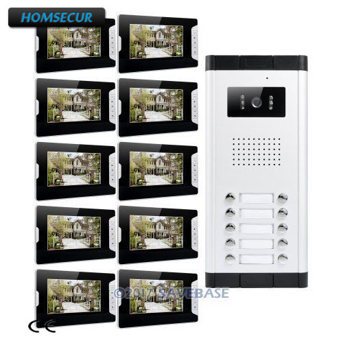 HOMSECUR 7 TFT Video Door Entry Call Intercom With LCD Color Screen For 10 Apartment