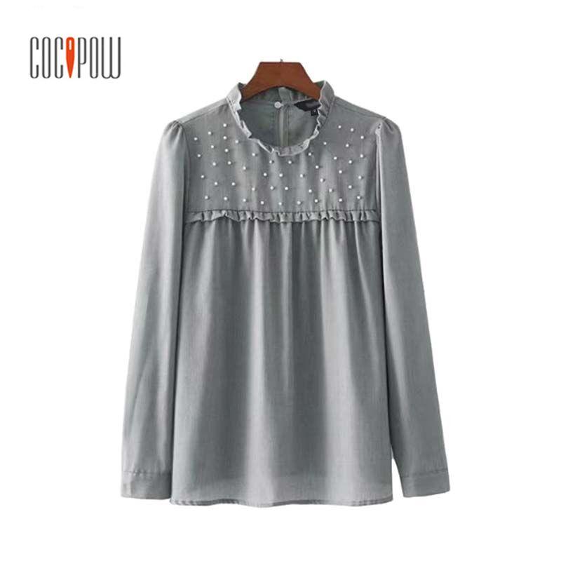 Woman Za Elegant Ruffled Pearls Beading Shirts Long Sleeve Pleated Chic Blouse Sweet Office Lady Casual