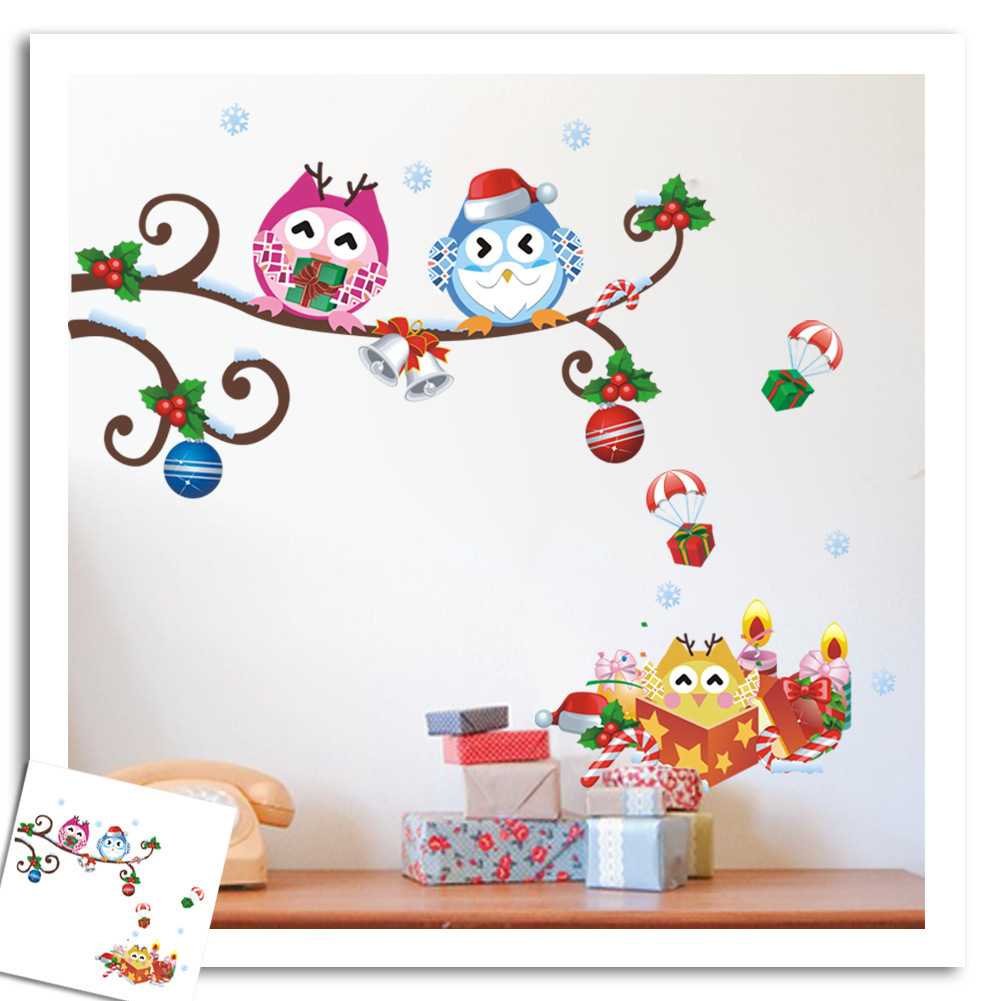 Merry Christmas Wall Stickers Animal Prints Owl Tree Decals Living Room Shop Glass Decoration Diy Home Decals Festival Mural Art