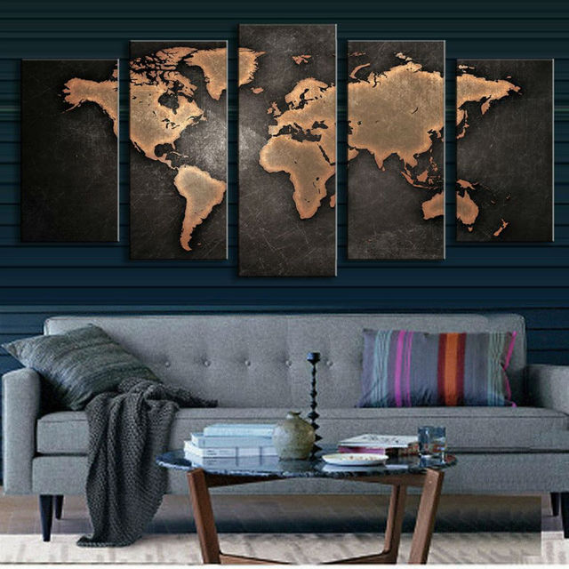 5 Panel Vintage World Map Canvas Painting Oil Print On Home Wall Art Picture Living Room Unframed