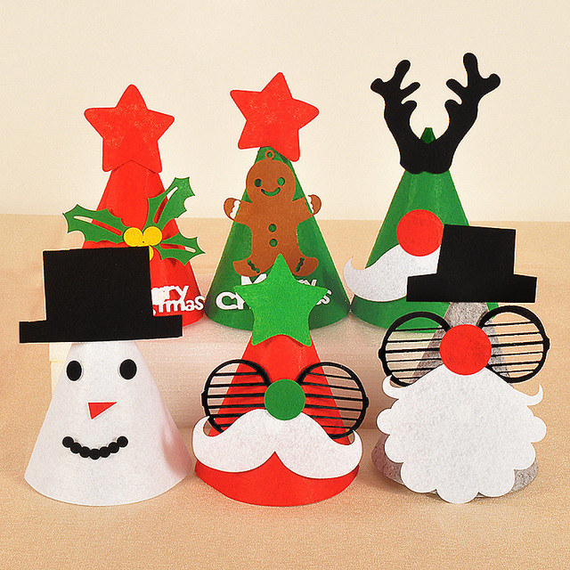 Lovely Christmas Hat Reindeer Bowknot Pattern Santa Claus Hats Snow Ball  Decorations Red Hat Children Caps ae1b12950a5d