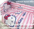 2016! 6/7PCS Hello Kitty Baby Bed Accessories Cheap Baby Crib Bedding Cotton Set Baby Bedding Set Duvet Cover,120*60/120*70cm