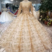 LSS401 ball gown evening dresses floor length o neck long sleeves lace up back muslim prom dresses curve shape ladies dress 2020
