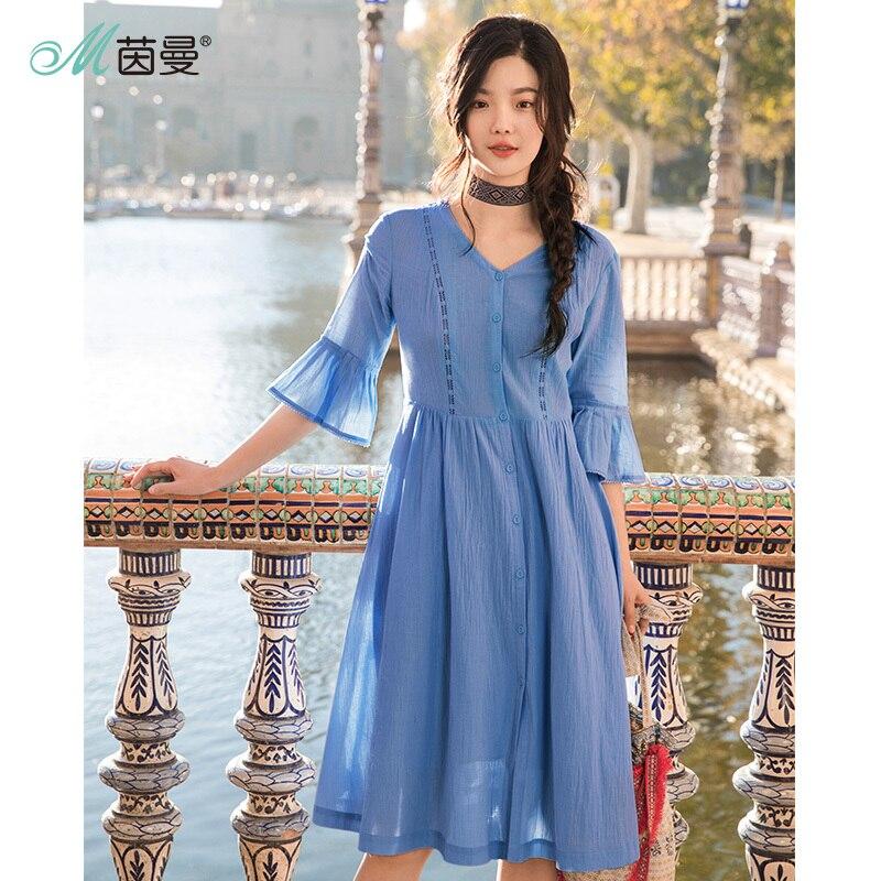 INMAN 2019 Summer Dress New Style V neck Lotus Sleeve Lace A line Pendulum Dress Woman