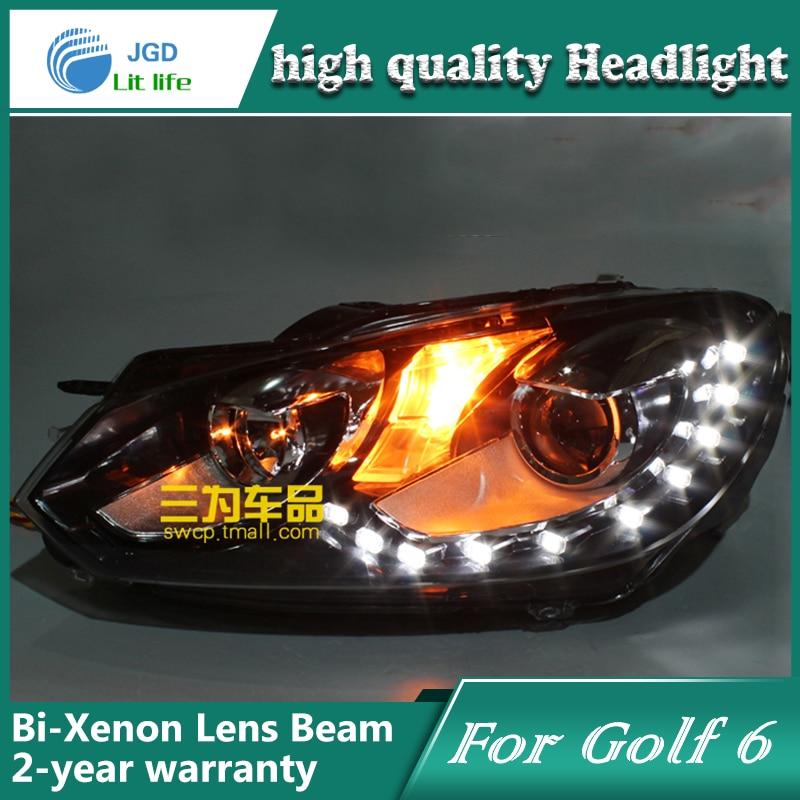 Глава стайлинга автомобилей чехол лампы для Гольф 6 Golf6 2005-2009 светодиодные фары DRL дневного света Би-Ксеноновые аксессуары