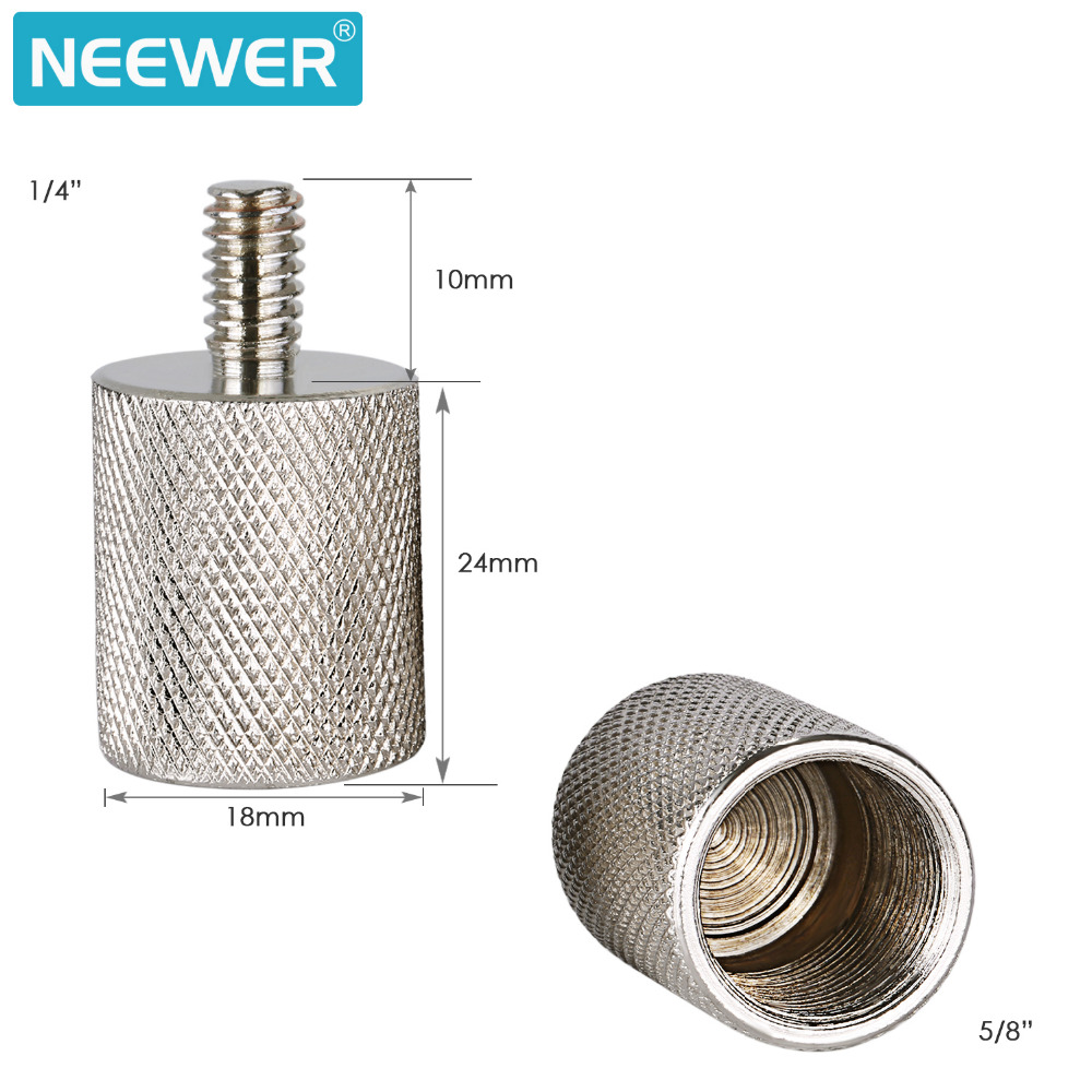 Neewer 2 Pieces Screw Thread Adapter 5/8-inch Female to 1/4-inch Male Durable Solid Nickel Brass for Camera Mounts Mic Stand