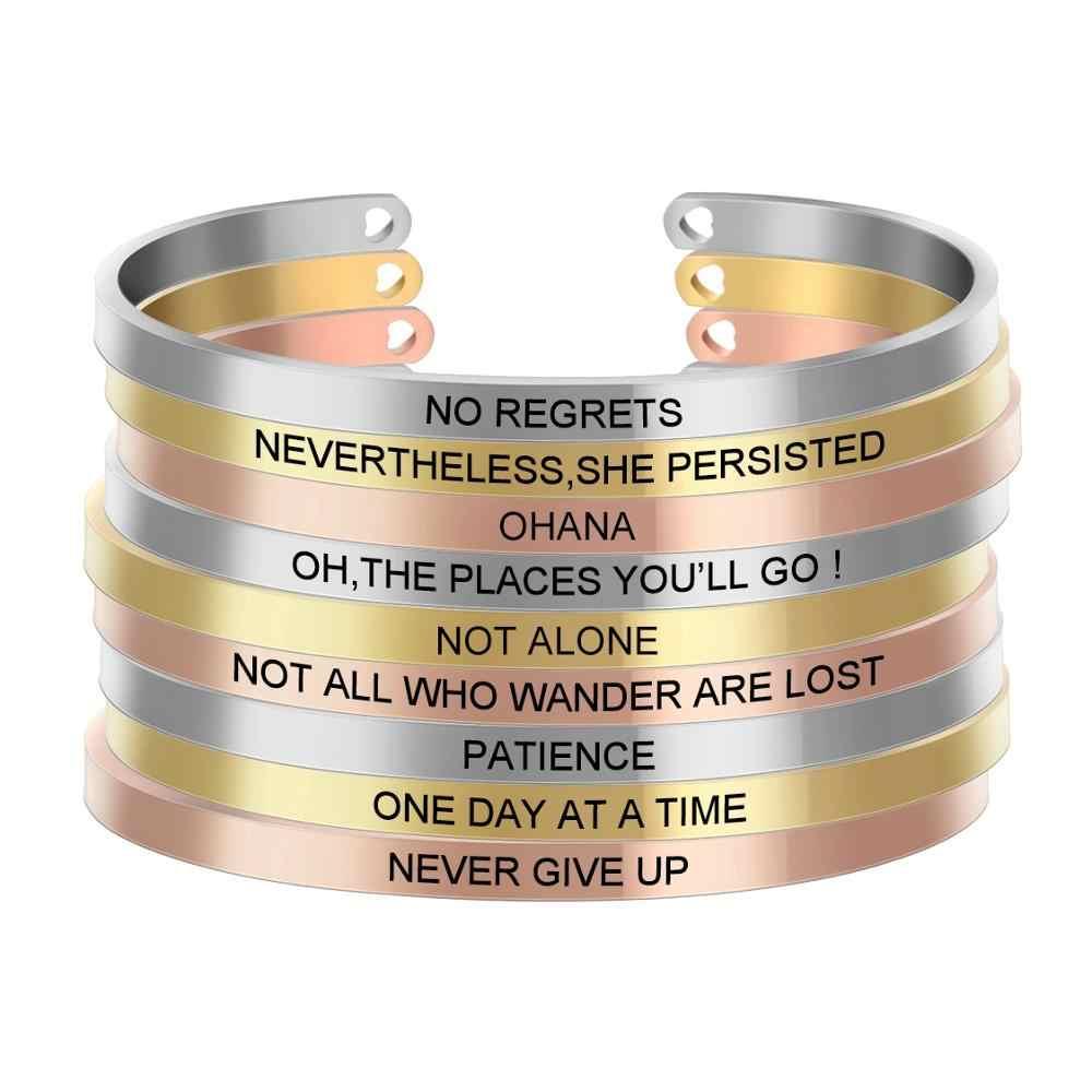 Różowe złoto ze stali nierdzewnej pozytywna inspirująca bransoletka grawerowane cytat Mantra bransoletka i bransoletka mankiet dla kobiet SL-054
