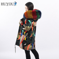 HUYOU Women's Casual Real Fox Fur Parka Long Jacket 100% Natural Raccoon Fur Jacket Winter Coat For Women Plus Size Outerwear