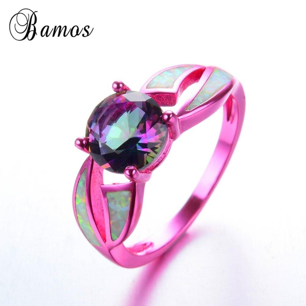 Bamos Stylish White Fire Opal Female Ring Exquisite Round Rainbow ...