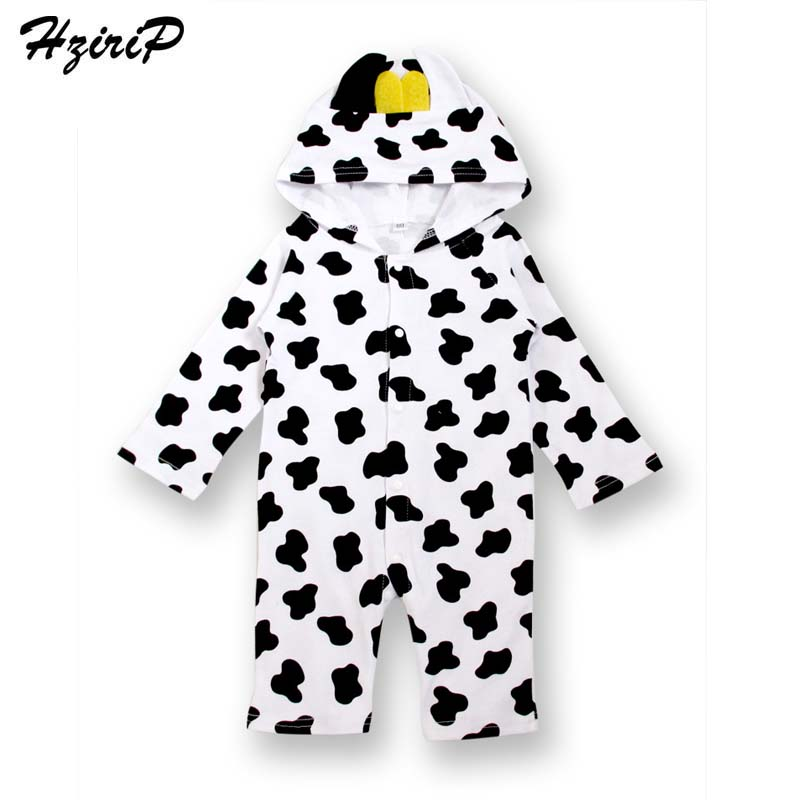 HziriP New 2017 Infant Baby Boys Girls Romper Cute Animal Cows Bee Printing Long Sleeves Hooded Jumpsuit Kids Clothes Fit 1-18M